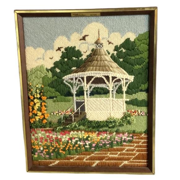 Vintage Other - Vintage Springtime Gazebo Needlepoint Embroidery